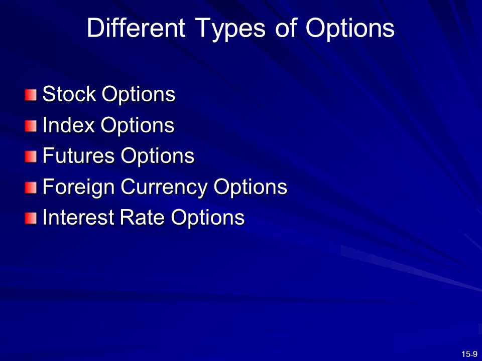 15-9 Different Types of Options Stock Options Index Options Futures Options Foreign Currency Options Interest Rate Options