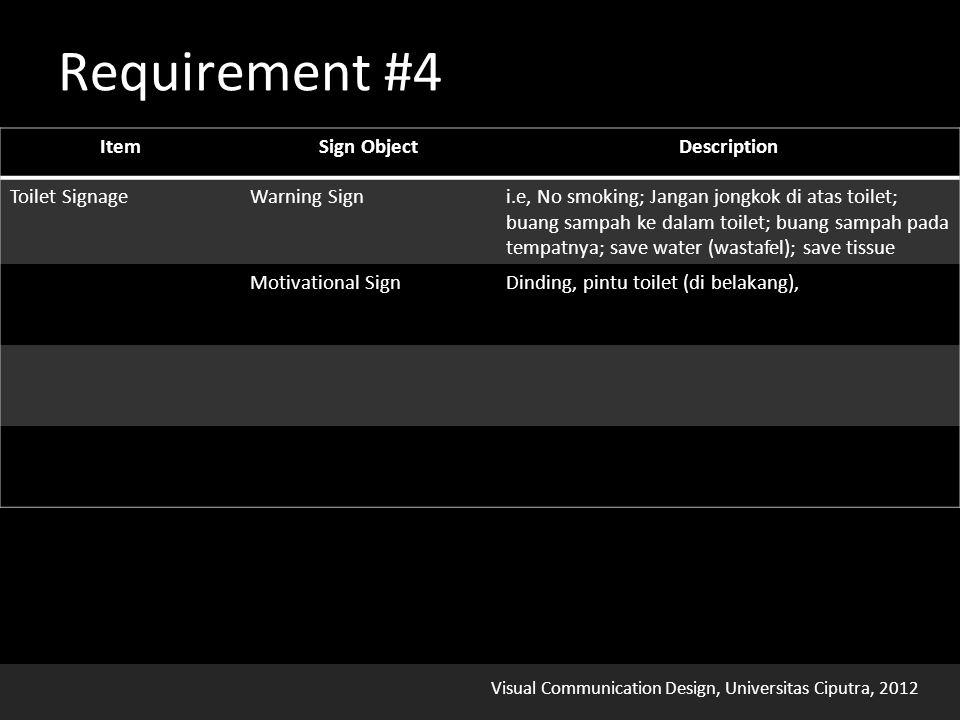 Visual Communication Design, Universitas Ciputra, 2012 Requirement #4