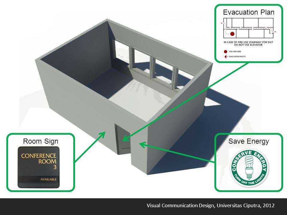 Visual Communication Design, Universitas Ciputra, 2012 Evacuation Plan Save EnergyRoom Sign