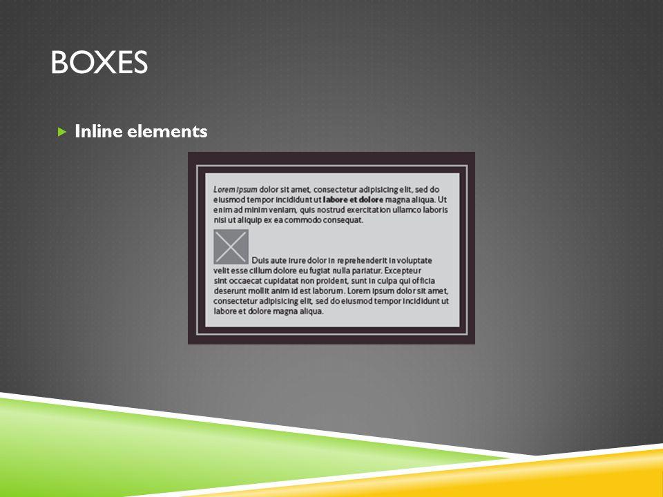 BOXES  Inline elements