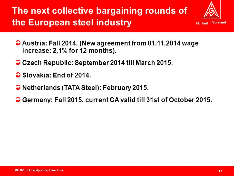 Vorstand FB Tarif 12 VB 02, FB Tarifpolitik, Uwe Fink The next collective bargaining rounds of the European steel industry Austria: Fall 2014.