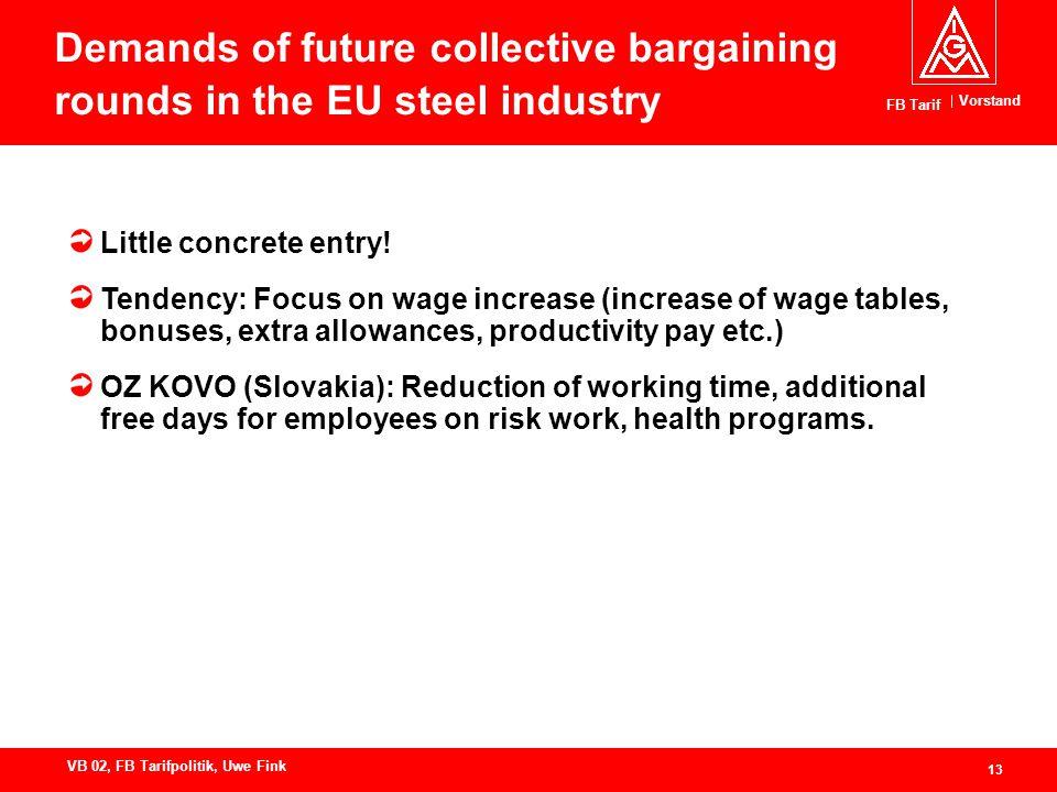 Vorstand FB Tarif 13 VB 02, FB Tarifpolitik, Uwe Fink Demands of future collective bargaining rounds in the EU steel industry Little concrete entry.