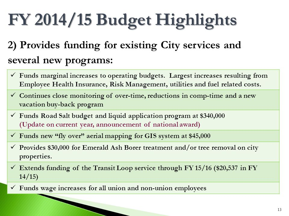 2) Provides funding for existing City services and several new programs: 13 FY 2014/15 Budget Highlights Funds marginal increases to operating budgets