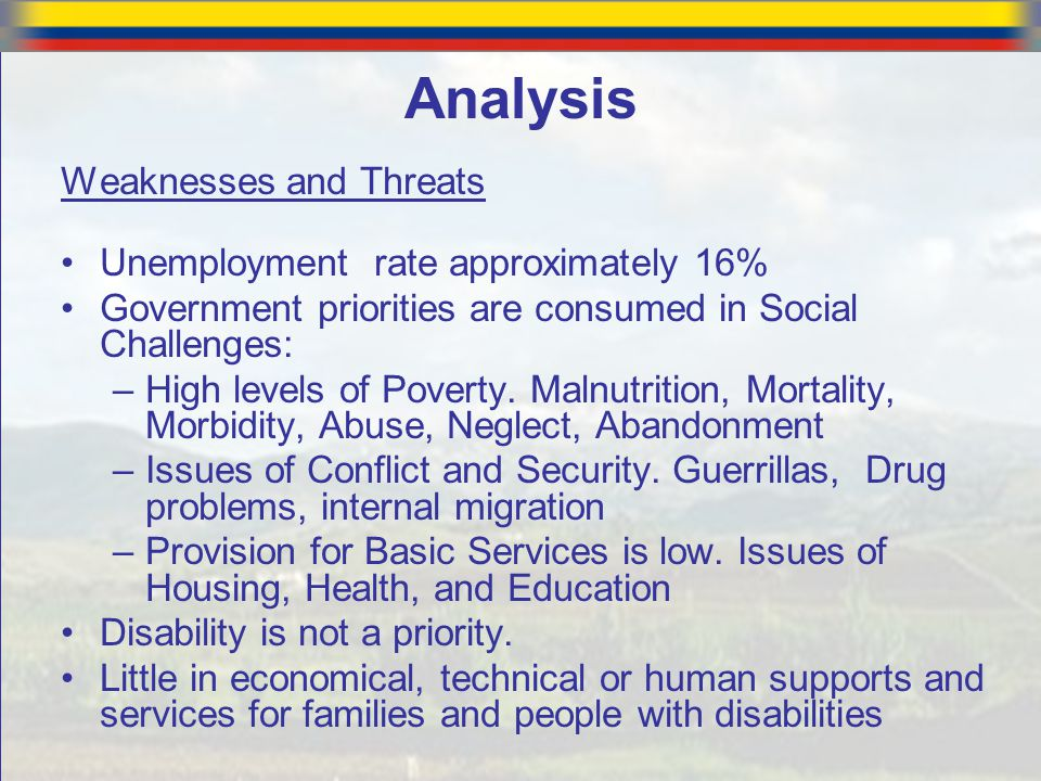Weaknesses and Threats Unemployment rate approximately 16% Government priorities are consumed in Social Challenges: –High levels of Poverty. Malnutrit