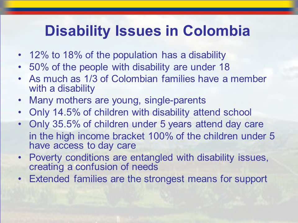 Disability Issues in Colombia 12% to 18% of the population has a disability 50% of the people with disability are under 18 As much as 1/3 of Colombian