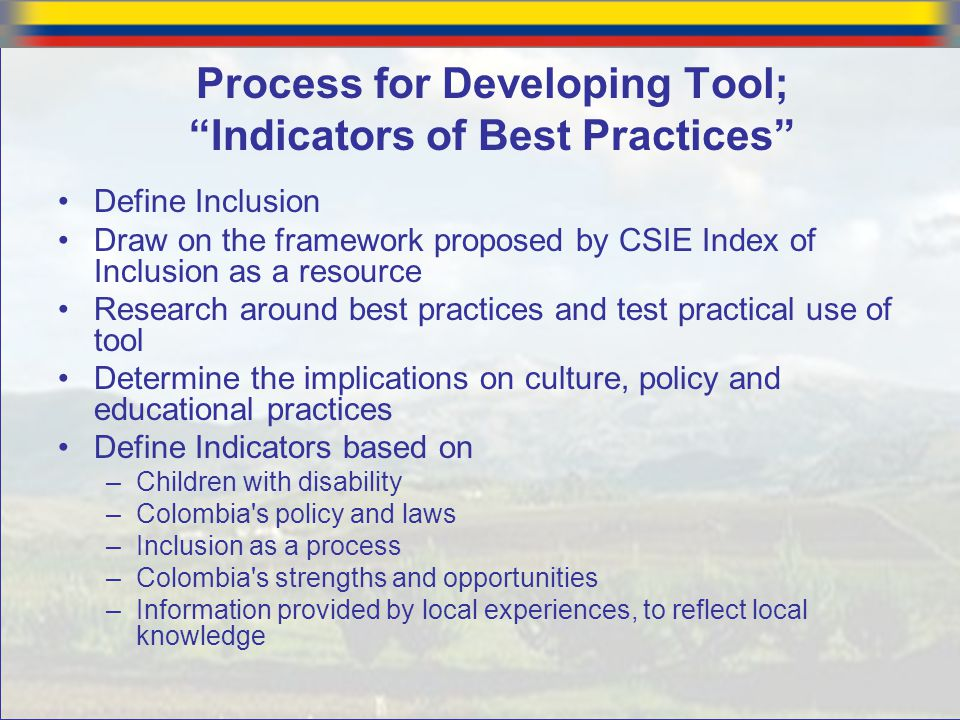 """Process for Developing Tool; """"Indicators of Best Practices"""" Define Inclusion Draw on the framework proposed by CSIE Index of Inclusion as a resource R"""