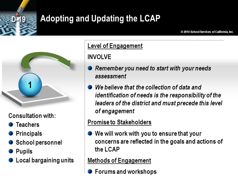 Adopting and Updating the LCAP 1 Consultation with: Teachers Principals School personnel Pupils Local bargaining units Level of Engagement INVOLVE Remember you need to start with your needs assessment We believe that the collection of data and identification of needs is the responsibility of the leaders of the district and must precede this level of engagement Promise to Stakeholders We will work with you to ensure that your concerns are reflected in the goals and actions of the LCAP Methods of Engagement Forums and workshops © 2014 School Services of California, Inc.