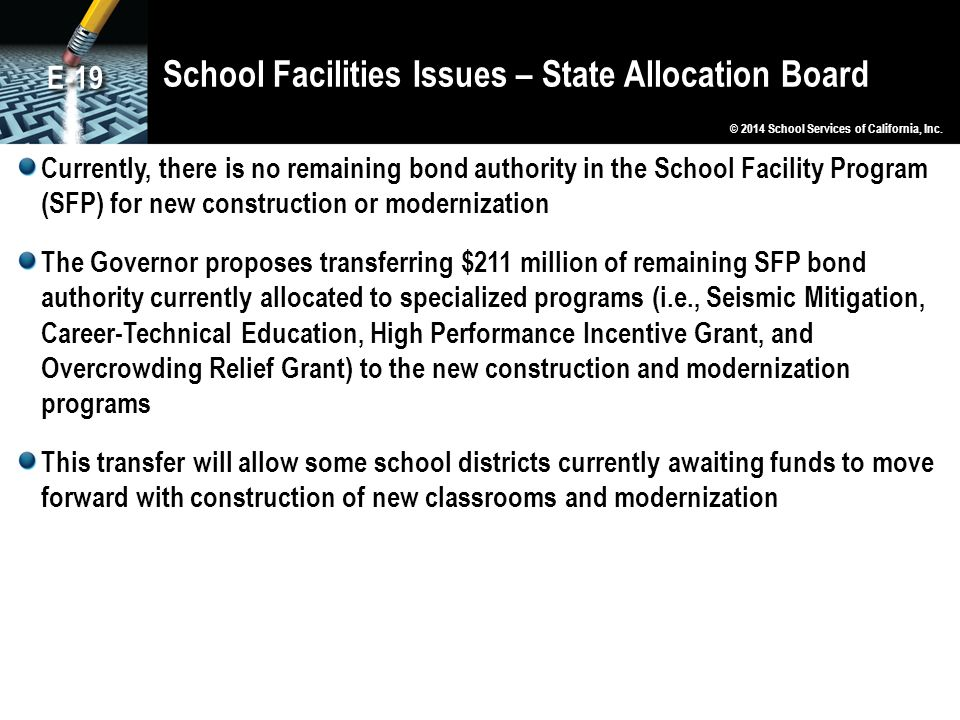 School Facilities Issues – State Allocation Board Currently, there is no remaining bond authority in the School Facility Program (SFP) for new construction or modernization The Governor proposes transferring $211 million of remaining SFP bond authority currently allocated to specialized programs (i.e., Seismic Mitigation, Career-Technical Education, High Performance Incentive Grant, and Overcrowding Relief Grant) to the new construction and modernization programs This transfer will allow some school districts currently awaiting funds to move forward with construction of new classrooms and modernization © 2014 School Services of California, Inc.