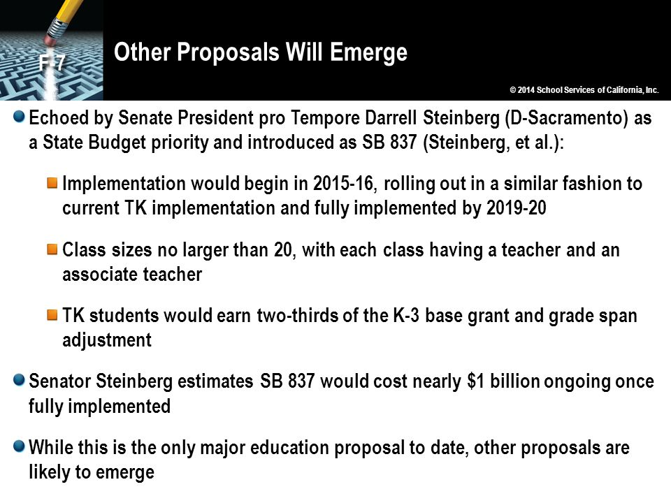Other Proposals Will Emerge Echoed by Senate President pro Tempore Darrell Steinberg (D-Sacramento) as a State Budget priority and introduced as SB 83