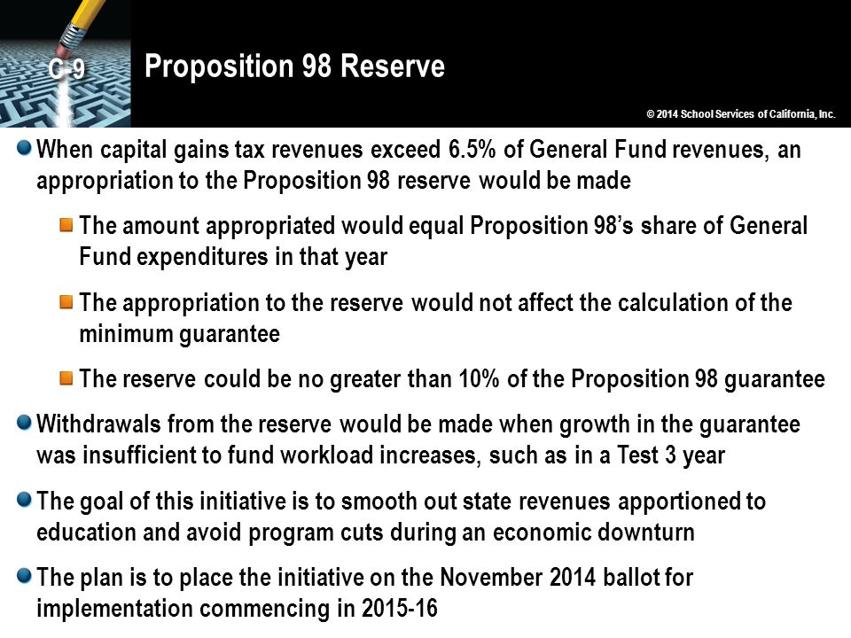 Proposition 98 Reserve When capital gains tax revenues exceed 6.5% of General Fund revenues, an appropriation to the Proposition 98 reserve would be made The amount appropriated would equal Proposition 98's share of General Fund expenditures in that year The appropriation to the reserve would not affect the calculation of the minimum guarantee The reserve could be no greater than 10% of the Proposition 98 guarantee Withdrawals from the reserve would be made when growth in the guarantee was insufficient to fund workload increases, such as in a Test 3 year The goal of this initiative is to smooth out state revenues apportioned to education and avoid program cuts during an economic downturn The plan is to place the initiative on the November 2014 ballot for implementation commencing in 2015-16 © 2014 School Services of California, Inc.