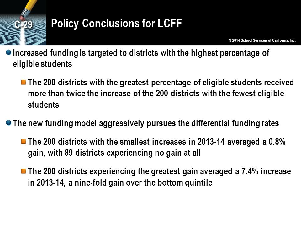 Policy Conclusions for LCFF Increased funding is targeted to districts with the highest percentage of eligible students The 200 districts with the greatest percentage of eligible students received more than twice the increase of the 200 districts with the fewest eligible students The new funding model aggressively pursues the differential funding rates The 200 districts with the smallest increases in 2013-14 averaged a 0.8% gain, with 89 districts experiencing no gain at all The 200 districts experiencing the greatest gain averaged a 7.4% increase in 2013-14, a nine-fold gain over the bottom quintile © 2014 School Services of California, Inc.