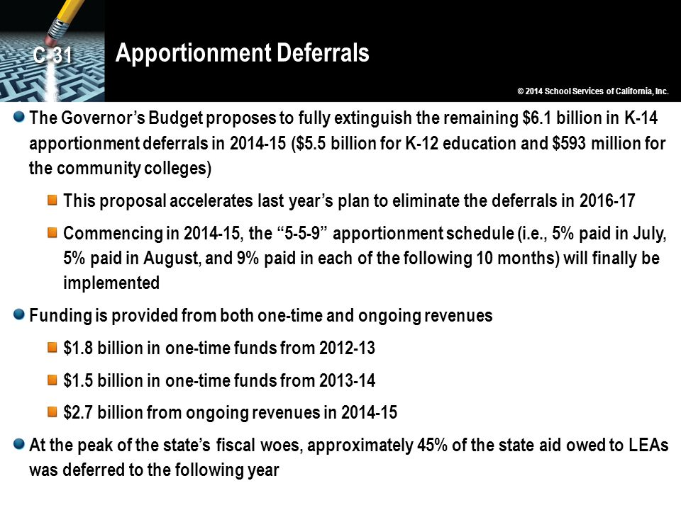 Apportionment Deferrals The Governor's Budget proposes to fully extinguish the remaining $6.1 billion in K-14 apportionment deferrals in 2014-15 ($5.5 billion for K-12 education and $593 million for the community colleges) This proposal accelerates last year's plan to eliminate the deferrals in 2016-17 Commencing in 2014-15, the 5-5-9 apportionment schedule (i.e., 5% paid in July, 5% paid in August, and 9% paid in each of the following 10 months) will finally be implemented Funding is provided from both one-time and ongoing revenues $1.8 billion in one-time funds from 2012-13 $1.5 billion in one-time funds from 2013-14 $2.7 billion from ongoing revenues in 2014-15 At the peak of the state's fiscal woes, approximately 45% of the state aid owed to LEAs was deferred to the following year © 2014 School Services of California, Inc.