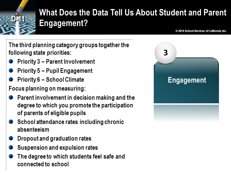 What Does the Data Tell Us About Student and Parent Engagement? 3 Engagement The third planning category groups together the following state prioritie
