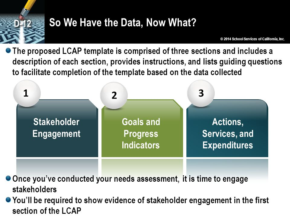 So We Have the Data, Now What? 123 Stakeholder Engagement Goals and Progress Indicators Actions, Services, and Expenditures © 2014 School Services of