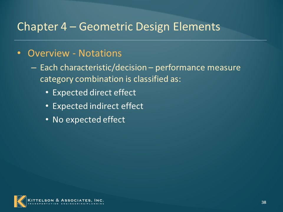 Chapter 4 – Geometric Design Elements Overview - Notations – Secondary notation classifies each relationship as one of the following : The relationship can be directly estimated by existing performance prediction tools; The relationship can be indirectly estimated using more than one existing tool or supplemental calculations; The relationship cannot be estimated by existing tools; or Not applicable (i.e., the relationship does not exist).