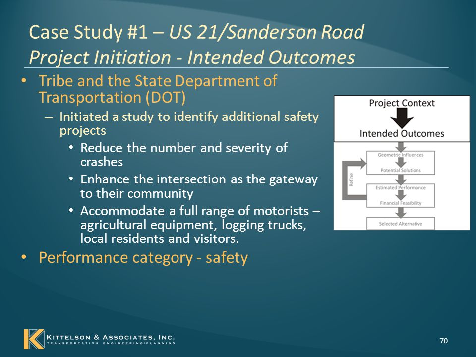 Case Study #1 – US 21/Sanderson Road Concept Development 71 Design elements related to crash frequency/severity Performance TargetRelated Design ElementsRelated Design Considerations Reduce Total Number of Crashes; Reduce Severity of Crashes Intersection Control Two-way stop controlled All-way stop controlled Traffic Signal Roundabout Intersection Design Features Left-Turn Lanes Right-Turn Lanes Presence of Lighting Visibility of Intersection Increase Intersection Awareness/Visibility Cross-Sectional Elements on Intersection Approach Lane Width Rumble Strips Median (Painted or Splitter Island Type) Decrease Vehicle Speed on Intersection Approach Cross-Sectional Elements on Intersection Approach Lane Width Rumble Strips Median (Painted or Splitter Island Type) Alignment on Intersection Approach Roadway curvature Sight Distance Advanced Signing