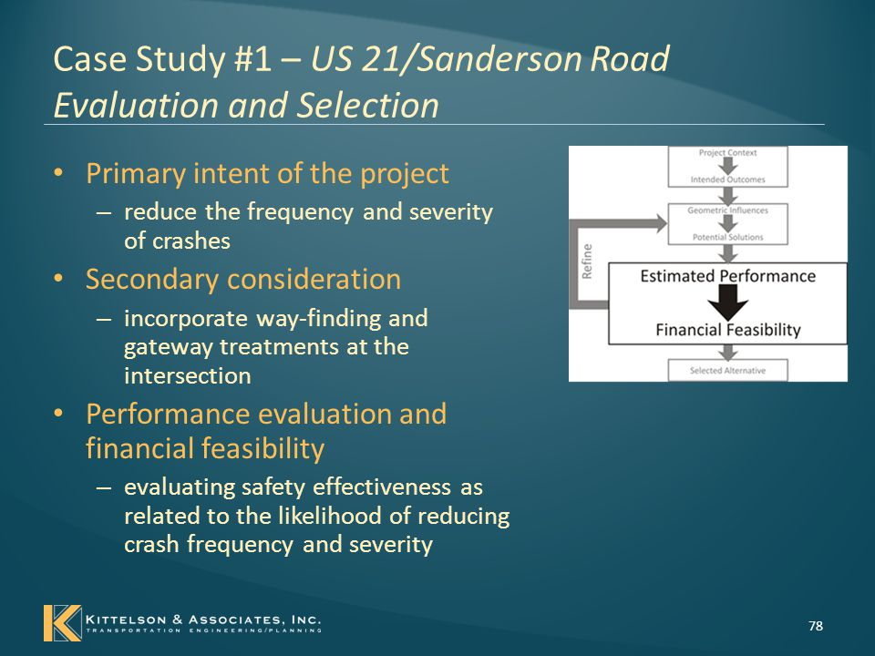 Case Study #1 – US 21/Sanderson Road Evaluation and Selection Estimating Performance – Design Elements Related to Crash Frequency/Severity 79 Performance Target Related Design Elements Related Design ConsiderationsTools or Resources to Evaluate Performance Reduce Total Number of Crashes; Reduce Severity of Crashes Intersection Control Two-way stop controlled All-way stop controlled Traffic Signal Roundabout Highway Safety Manual, Chapter 10 and Chapter 14 (5) Supporting Software Tools: HiSafe; IHSDM Intersection Design Features Left-Turn Lanes Right-Turn Lanes Presence of Lighting Visibility of Intersections Highway Safety Manual, Chapter 10 and Chapter 14 (5) Supporting Software Tools: HiSafe; IHSDM FHWA's Low Cost Safety Concepts for Two-Way Stop Controlled, Rural Intersections on High- Speed Two-Lane, Two-Way Roadways (3) NCHRP Report 613 (4)