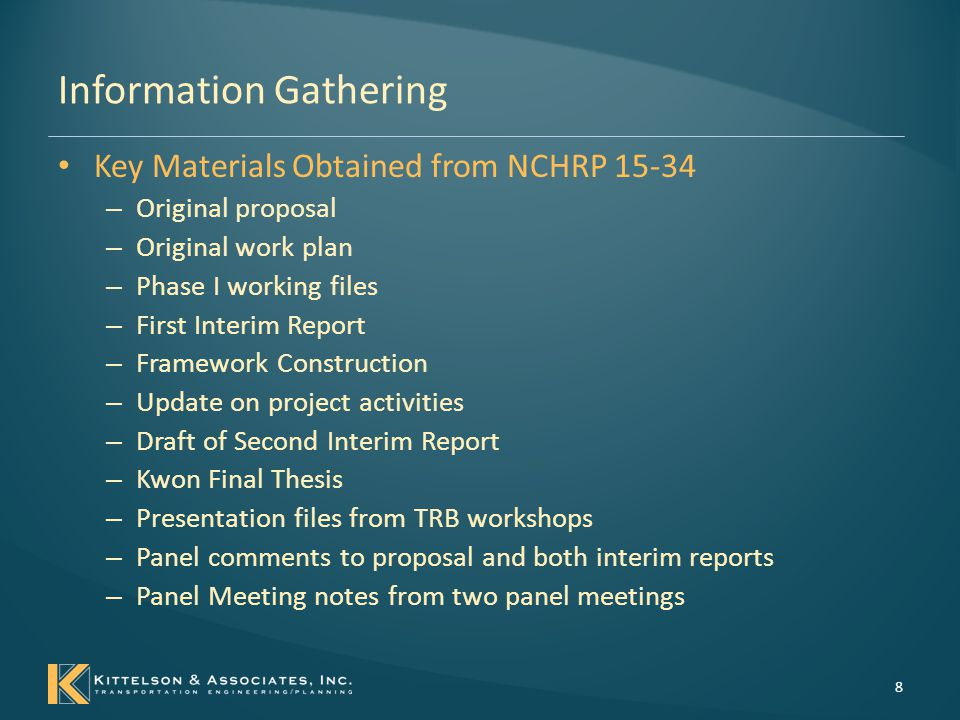 Information Gathering Material to be archived – Information primarily from NCHRP 15-34 First Interim Report (January 2007) definitions and timing of design decisions recommended performance measures capabilities of performance prediction tools sensitivity of performance measures to geometric design decisions NCHRP 15-34 archived material is located: https://sites.google.com/site/nchrp1534archive/ 9