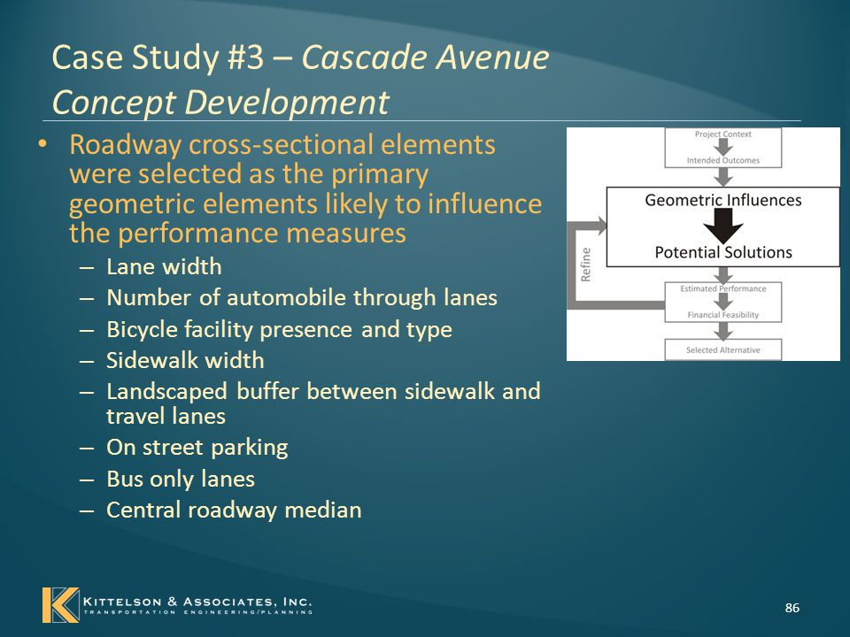Case Study #3 – Cascade Avenue Potential Solutions 87 The four basic alternatives : – Alternative 1 – Existing cross-section oriented towards serving automobiles Baseline for comparison – Alternative 2 – Transit oriented cross-section Serve transit vehicles and riders – Alternative 3 – Bicycle and pedestrian oriented cross-section Serve bicyclists and pedestrians – Alternative 4 – Hybrid of transit, bicycle and pedestrian features.