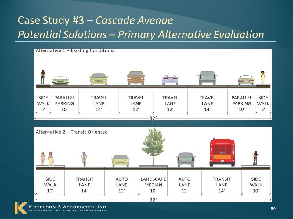 Case Study #3 – Cascade Avenue Potential Solutions – Primary Alternative Evaluation 90