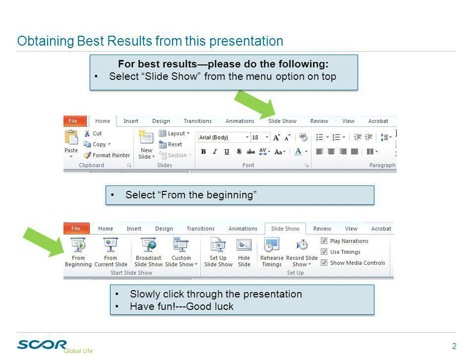 Select From the beginning Obtaining Best Results from this presentation 2 For best results—please do the following: Select Slide Show from the menu option on top For best results—please do the following: Select Slide Show from the menu option on top Slowly click through the presentation Have fun!---Good luck Slowly click through the presentation Have fun!---Good luck