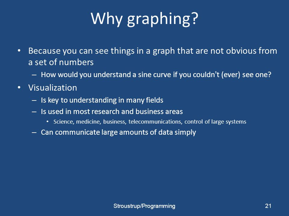 Why graphing? Because you can see things in a graph that are not obvious from a set of numbers – How would you understand a sine curve if you couldn't
