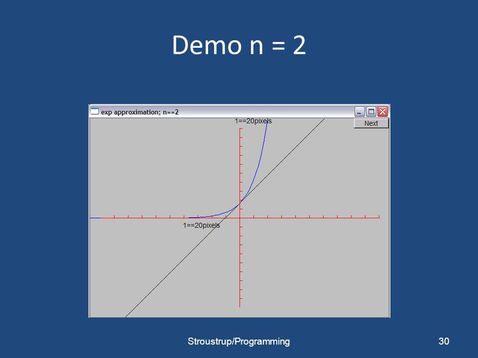 Demo n = 2 Stroustrup/Programming30