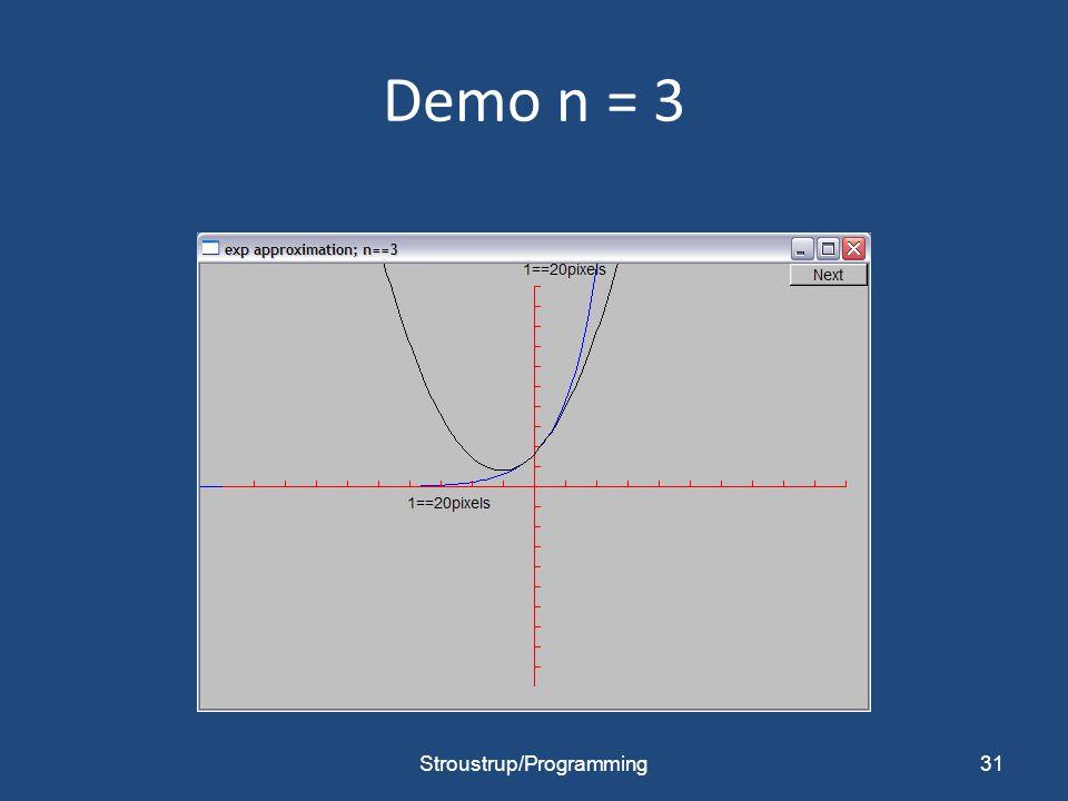 Demo n = 3 Stroustrup/Programming31