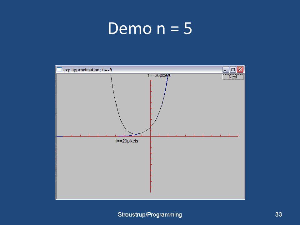 Demo n = 5 Stroustrup/Programming33