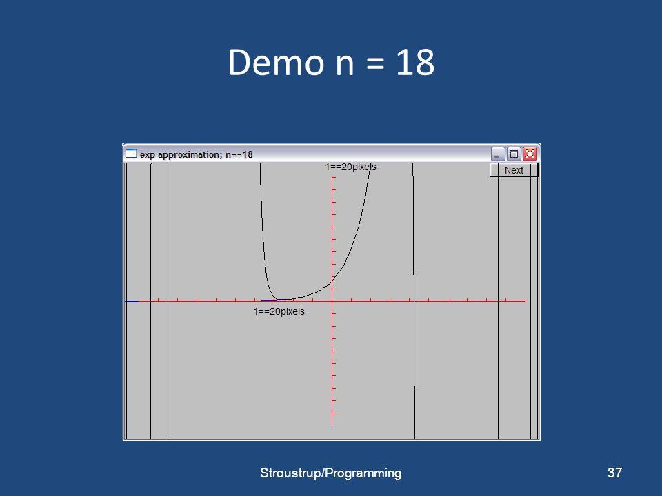 Demo n = 18 Stroustrup/Programming37