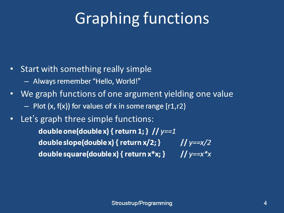 Graphing functions Start with something really simple – Always remember Hello, World! We graph functions of one argument yielding one value – Plot (x, f(x)) for values of x in some range [r1,r2) Let's graph three simple functions: double one(double x) { return 1; } // y==1 double slope(double x) { return x/2; }// y==x/2 double square(double x) { return x*x; } // y==x*x Stroustrup/Programming4