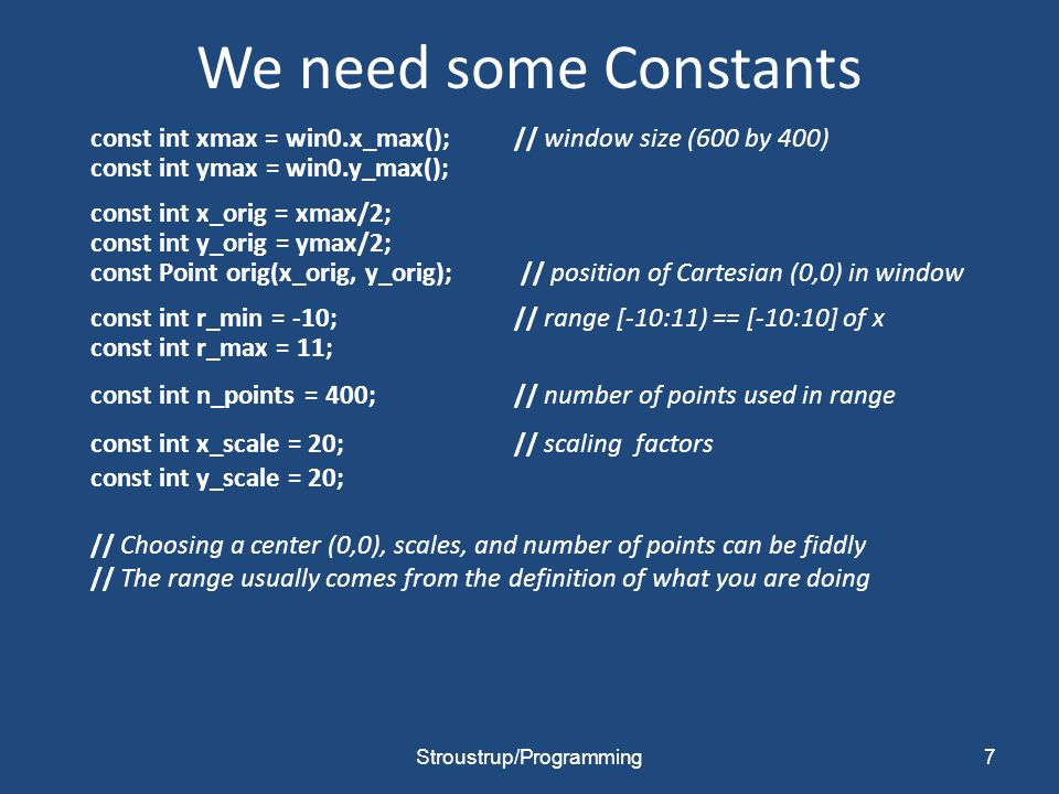 We need some Constants const int xmax = win0.x_max();// window size (600 by 400) const int ymax = win0.y_max(); const int x_orig = xmax/2; const int y_orig = ymax/2; const Point orig(x_orig, y_orig); // position of Cartesian (0,0) in window const int r_min = -10;// range [-10:11) == [-10:10] of x const int r_max = 11; const int n_points = 400;// number of points used in range const int x_scale = 20;// scaling factors const int y_scale = 20; // Choosing a center (0,0), scales, and number of points can be fiddly // The range usually comes from the definition of what you are doing Stroustrup/Programming7