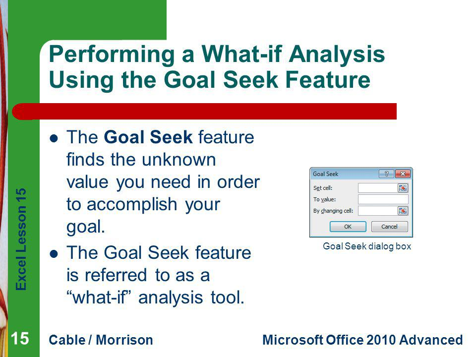 Excel Lesson 15 Cable / MorrisonMicrosoft Office 2010 Advanced Performing a What-if Analysis Using the Goal Seek Feature The Goal Seek feature finds the unknown value you need in order to accomplish your goal.