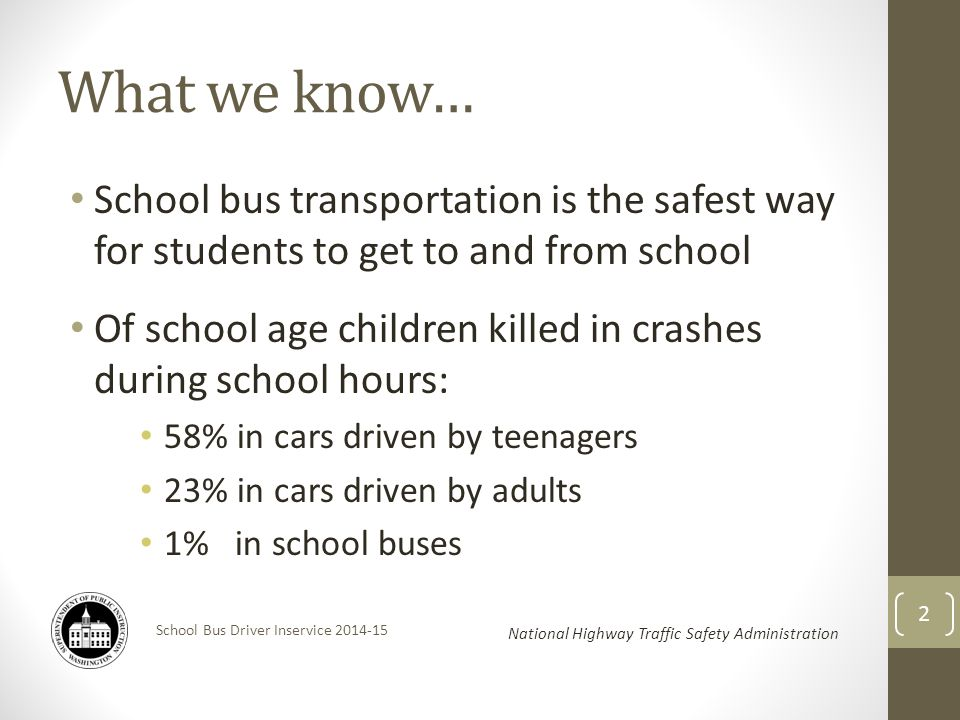 School Bus Driver Inservice 2014-15 What we know… School bus transportation is the safest way for students to get to and from school Of school age children killed in crashes during school hours: 58% in cars driven by teenagers 23% in cars driven by adults 1% in school buses National Highway Traffic Safety Administration 2