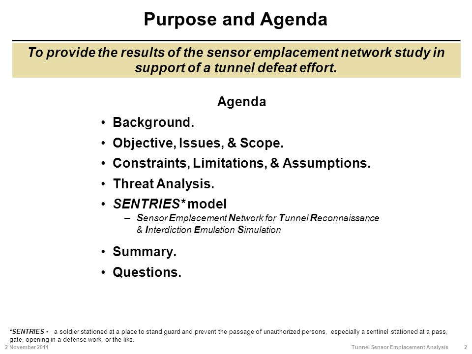 Purpose and Agenda Agenda Background. Objective, Issues, & Scope.