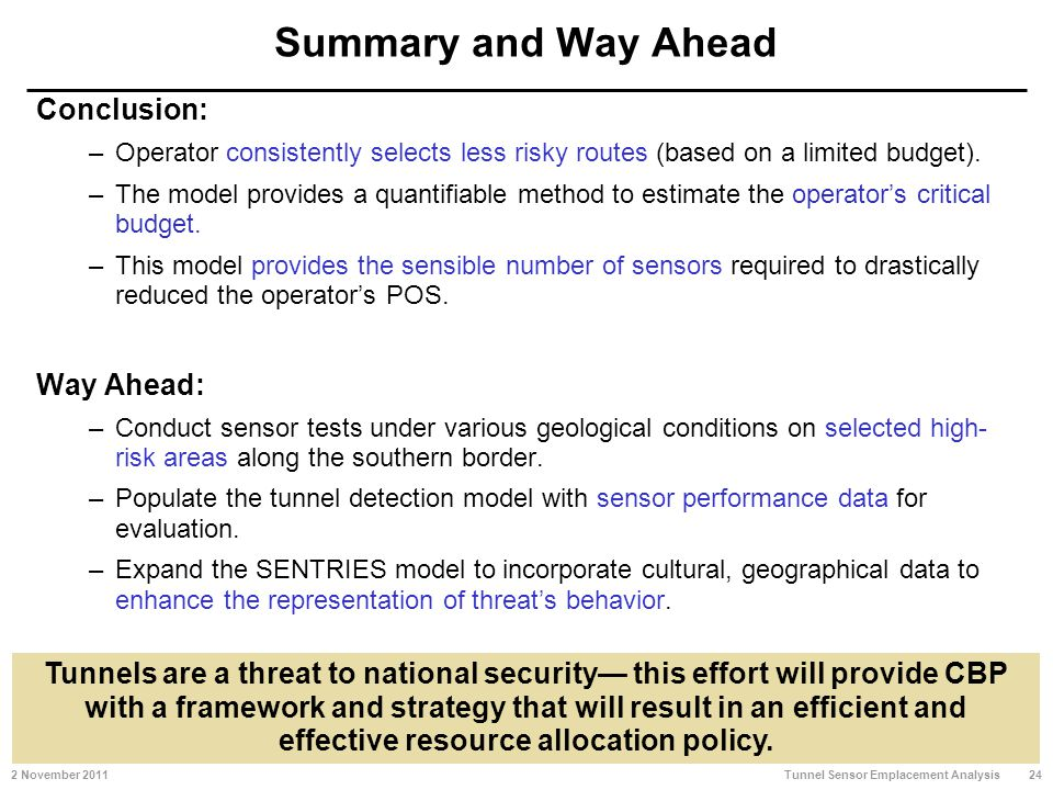 Summary and Way Ahead Conclusion: –Operator consistently selects less risky routes (based on a limited budget).