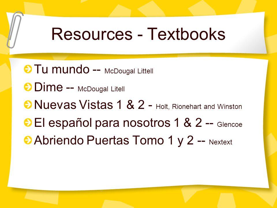 Resources - Textbooks Tu mundo -- McDougal Littell Dime -- McDougal Litell Nuevas Vistas 1 & 2 - Holt, Rionehart and Winston El español para nosotros 1 & 2 -- Glencoe Abriendo Puertas Tomo 1 y 2 -- Nextext
