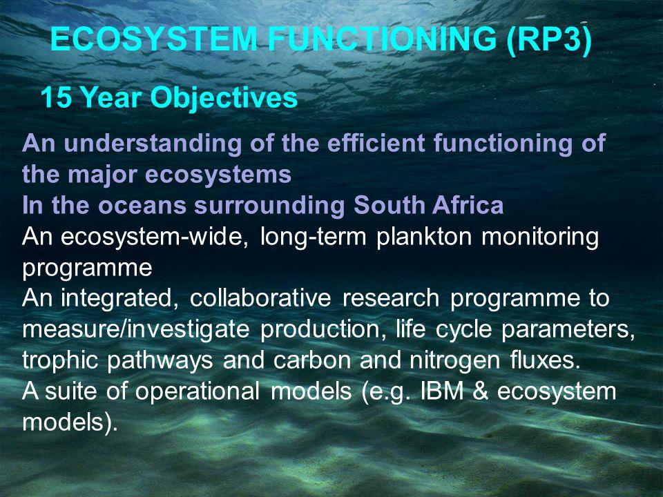 ECOSYSTEM FUNCTIONING (RP3) 15 Year Objectives An understanding of the efficient functioning of the major ecosystems In the oceans surrounding South Africa An ecosystem-wide, long-term plankton monitoring programme An integrated, collaborative research programme to measure/investigate production, life cycle parameters, trophic pathways and carbon and nitrogen fluxes.