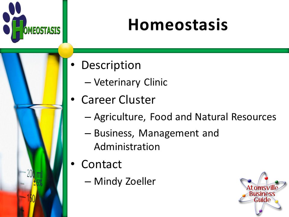 Description – Veterinary Clinic Career Cluster – Agriculture, Food and Natural Resources – Business, Management and Administration Contact – Mindy Zoeller