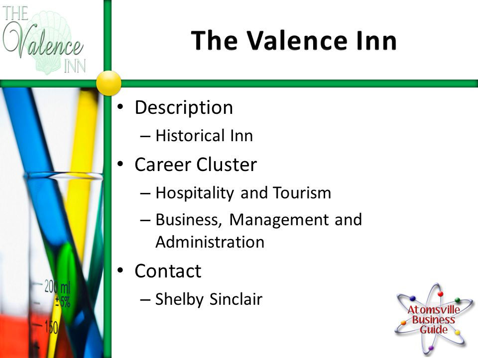 Description – Historical Inn Career Cluster – Hospitality and Tourism – Business, Management and Administration Contact – Shelby Sinclair