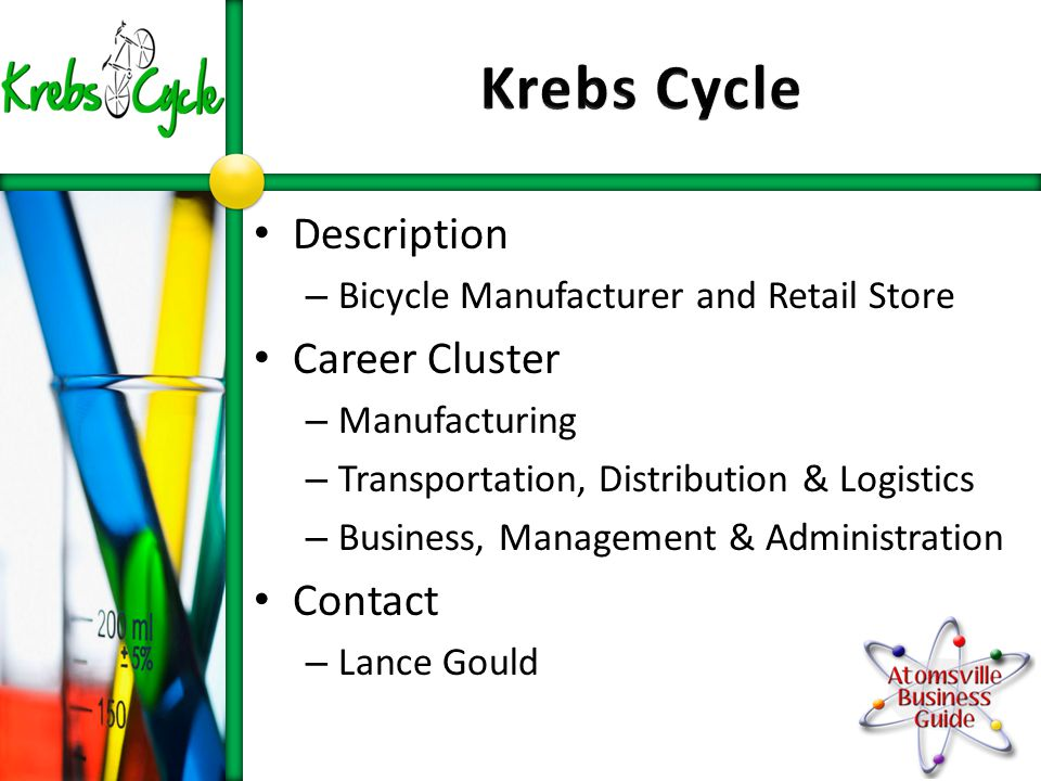 Description – Bicycle Manufacturer and Retail Store Career Cluster – Manufacturing – Transportation, Distribution & Logistics – Business, Management & Administration Contact – Lance Gould