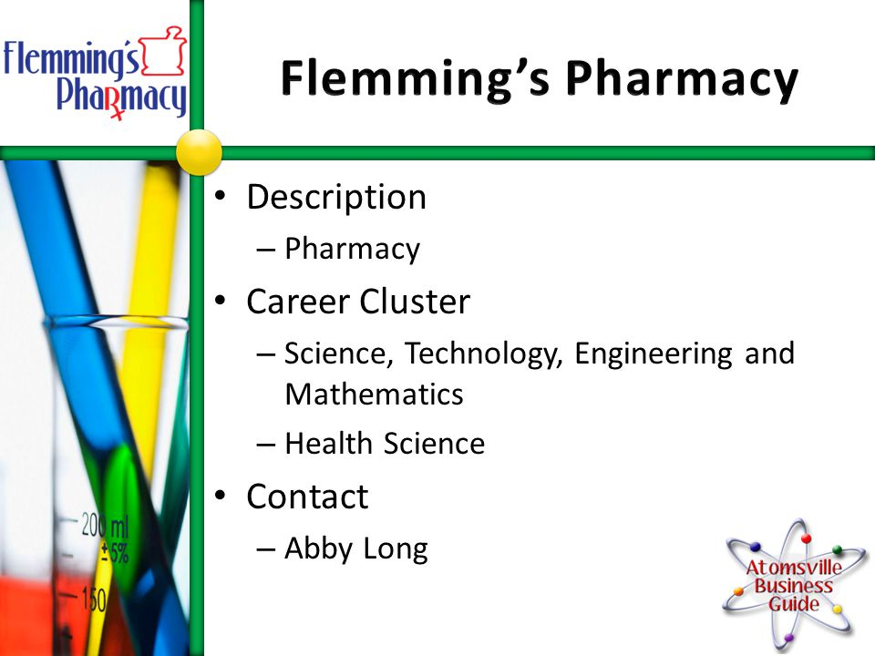 Description – Pharmacy Career Cluster – Science, Technology, Engineering and Mathematics – Health Science Contact – Abby Long