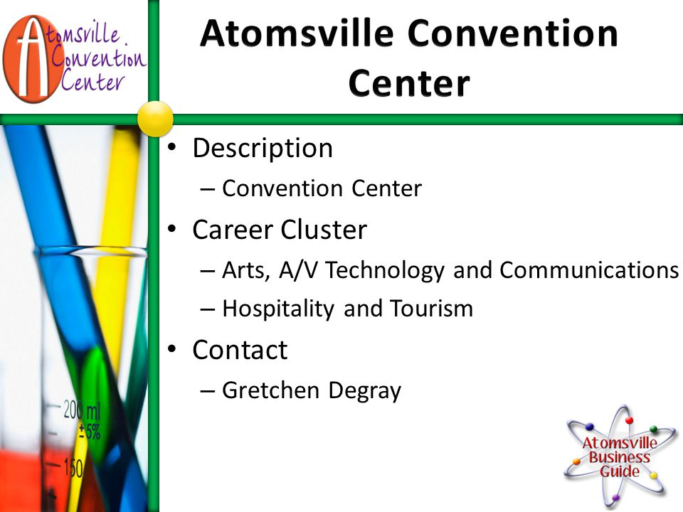 Description – Campaign for Mayor of Atomsville Career Cluster – Government and Public Administration Contact – Wendy Bivens
