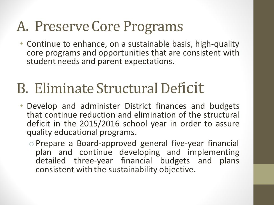 A. Preserve Core Programs Continue to enhance, on a sustainable basis, high-quality core programs and opportunities that are consistent with student n
