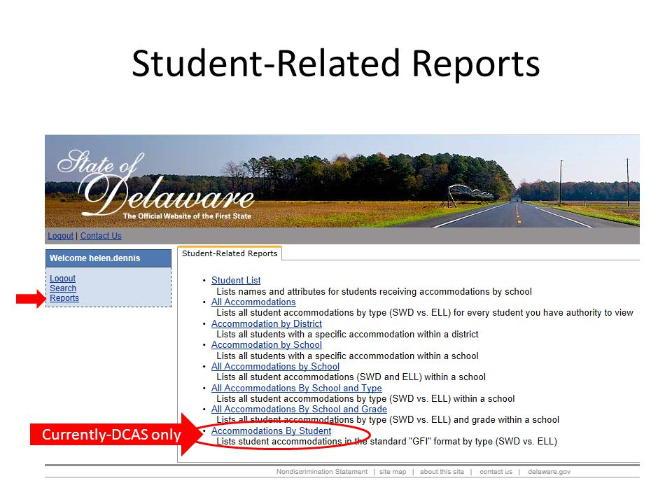 Student-Related Reports Currently-DCAS only