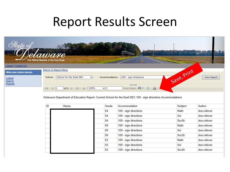 Report Results Screen Save, Print