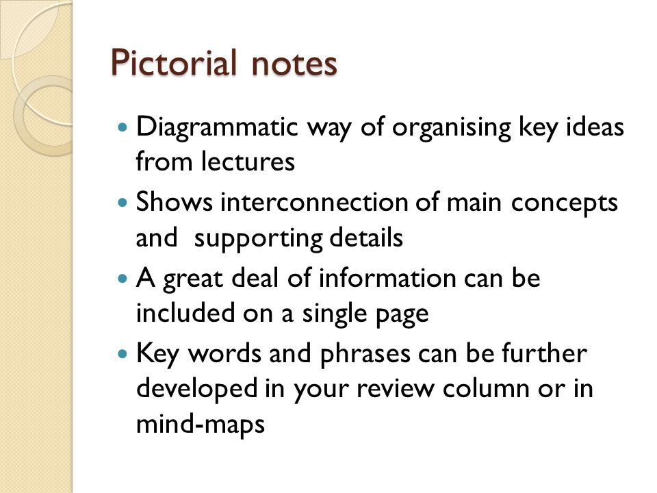Pictorial notes Diagrammatic way of organising key ideas from lectures Shows interconnection of main concepts and supporting details A great deal of i