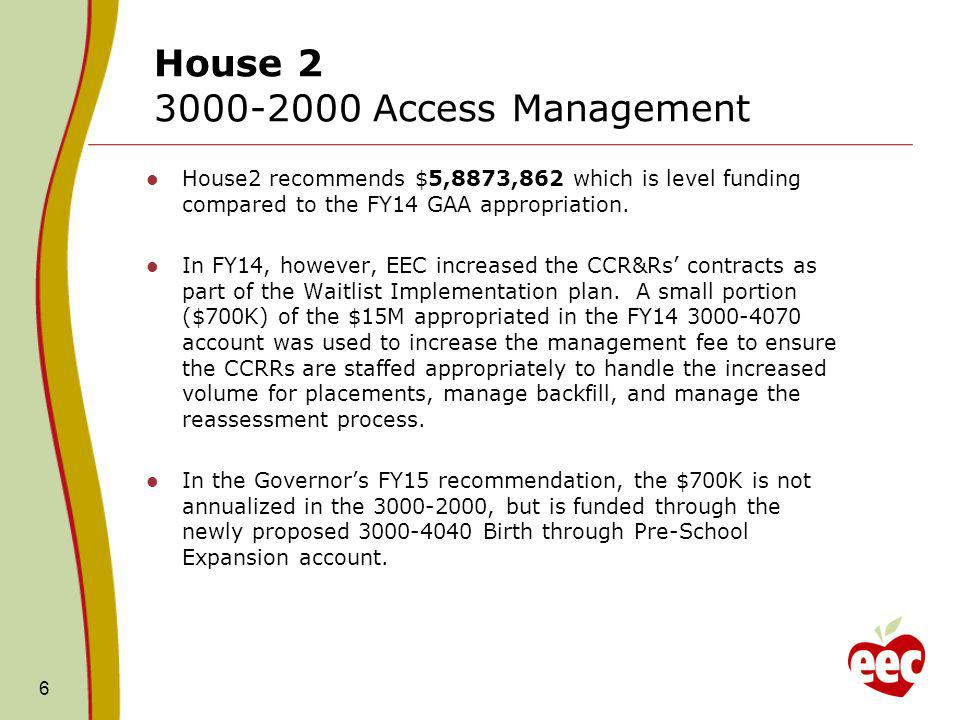 FY15 House 2: Caseload Accounts 7 The Governor included language in the three main line items – 3000-3050 (Supportive), 3000-4050 (DTA) and 3000-4060 (Income Eligible) to allow for unlimited transferability of funds between the accounts according to an allocation plan filed with the legislature 30-days prior to any such transfer.