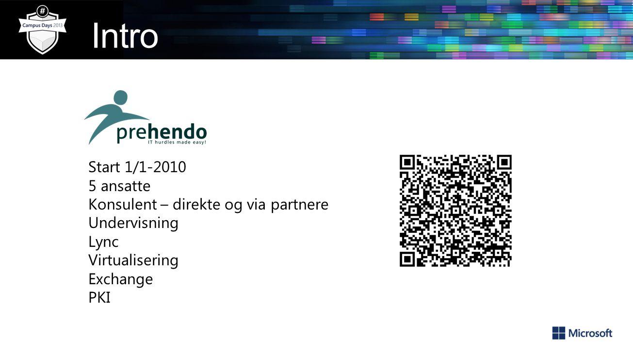 Start 1/1-2010 5 ansatte Konsulent – direkte og via partnere Undervisning Lync Virtualisering Exchange PKI