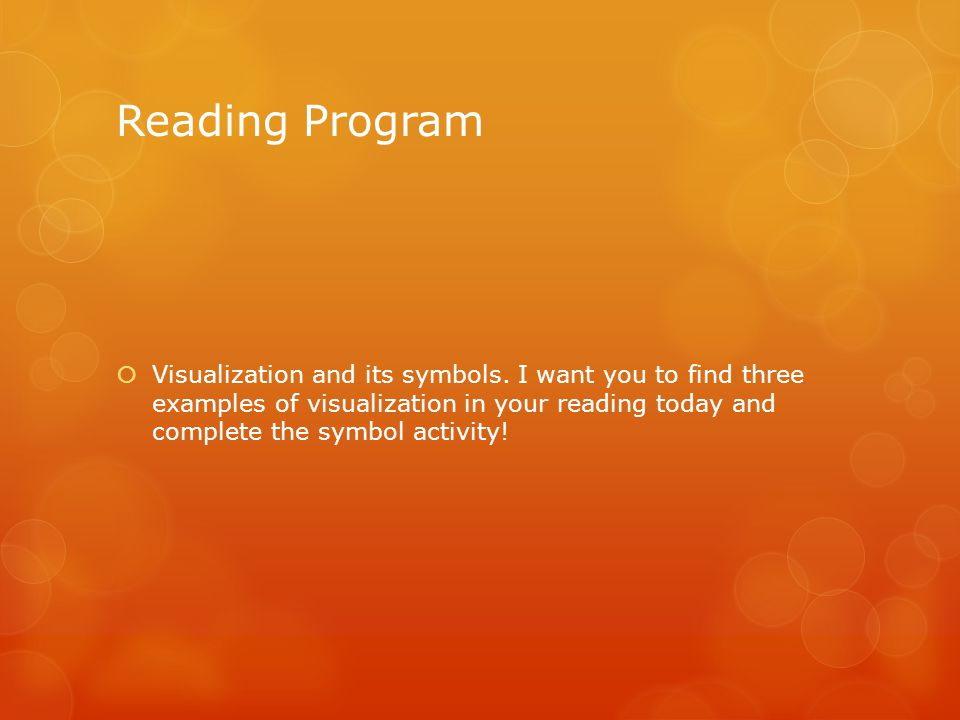 Reading Program  Visualization and its symbols.